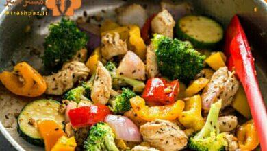 تصویر طرز تهیه خوراک مرغ و سبزیجات