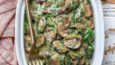 تصویر طرز تهیه خوراک قارچ و اسفناج